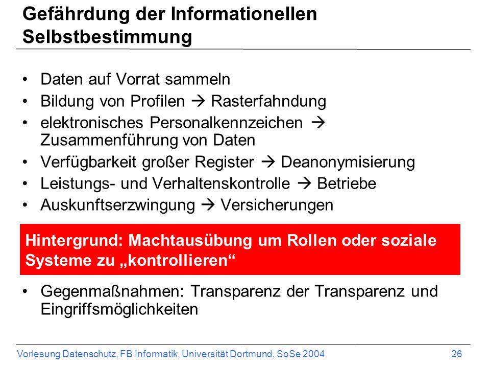 Gefährdung der Informationellen Selbstbestimmung