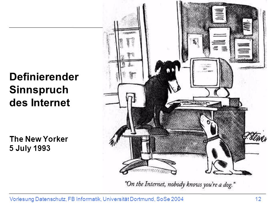 Definierender Sinnspruch des Internet The New Yorker 5 July 1993