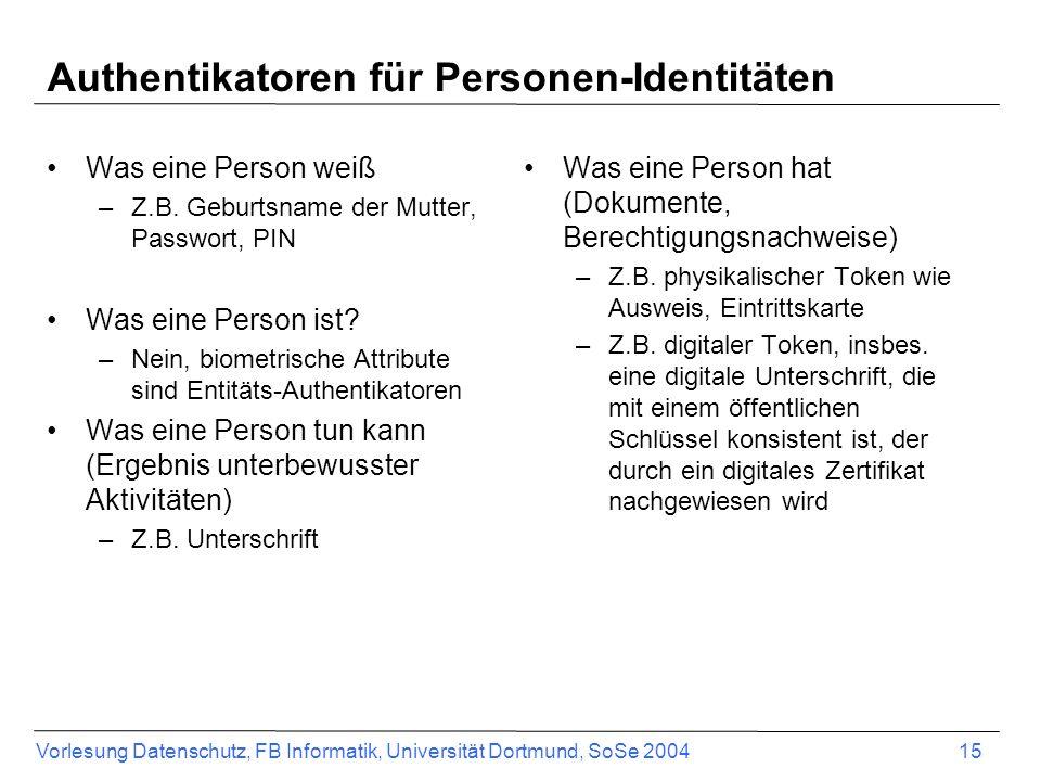 Authentikatoren für Personen-Identitäten