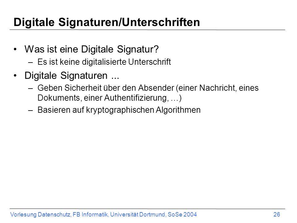Digitale Signaturen/Unterschriften