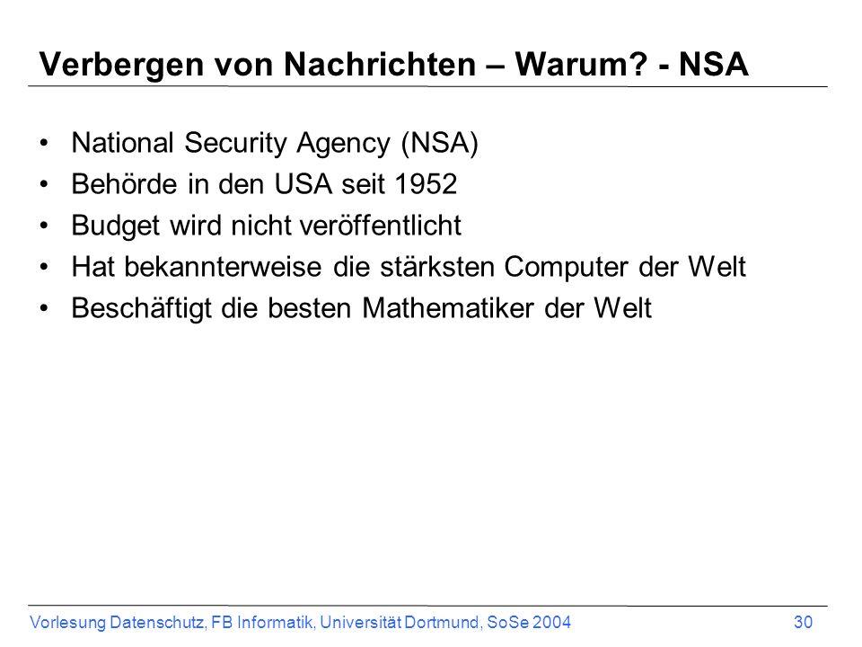 Verbergen von Nachrichten – Warum - NSA