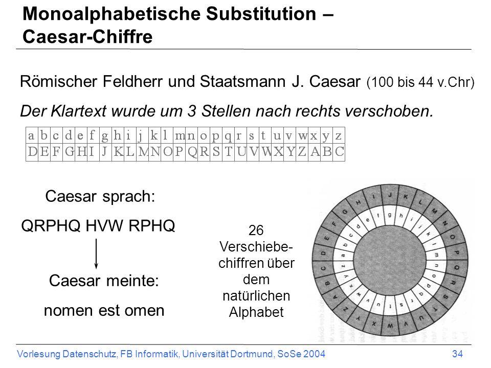 Monoalphabetische Substitution – Caesar-Chiffre