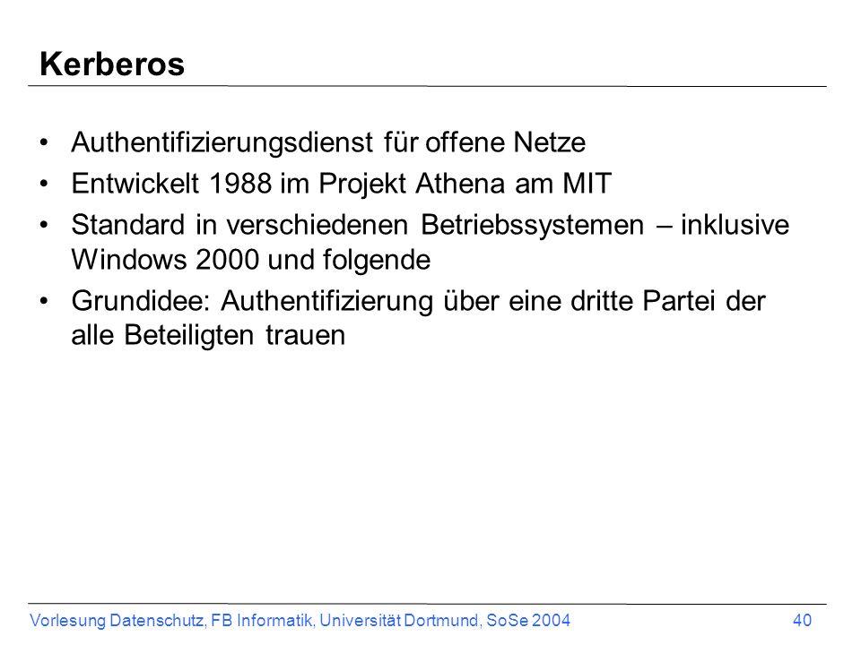 Kerberos Authentifizierungsdienst für offene Netze