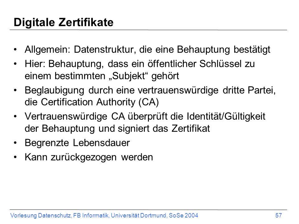 Digitale Zertifikate Allgemein: Datenstruktur, die eine Behauptung bestätigt.
