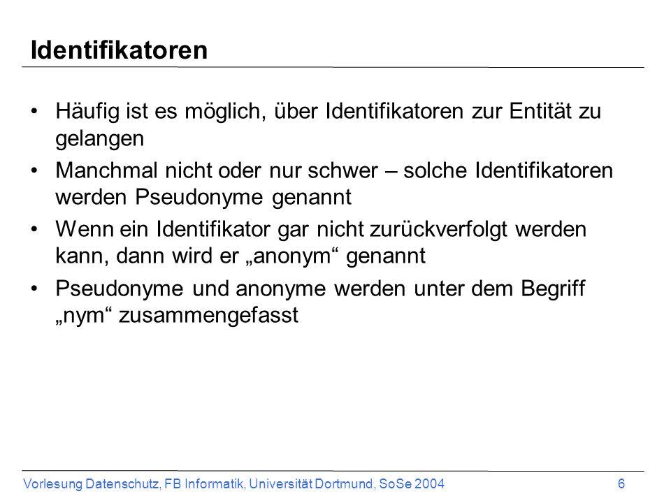 Identifikatoren Häufig ist es möglich, über Identifikatoren zur Entität zu gelangen.