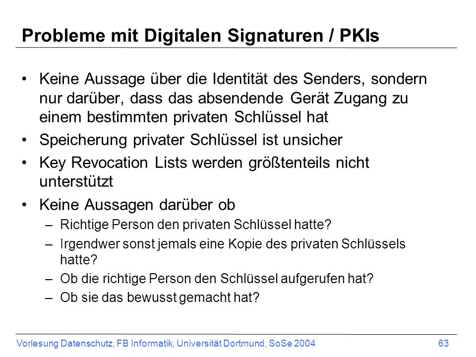 Probleme mit Digitalen Signaturen / PKIs