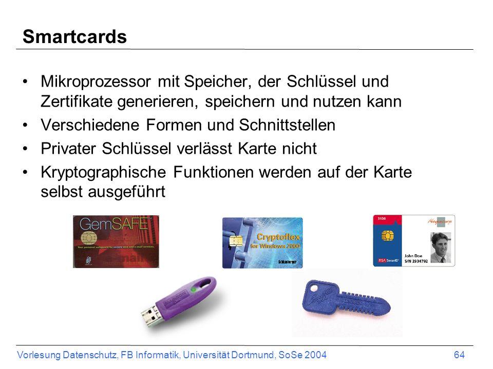 Smartcards Mikroprozessor mit Speicher, der Schlüssel und Zertifikate generieren, speichern und nutzen kann.