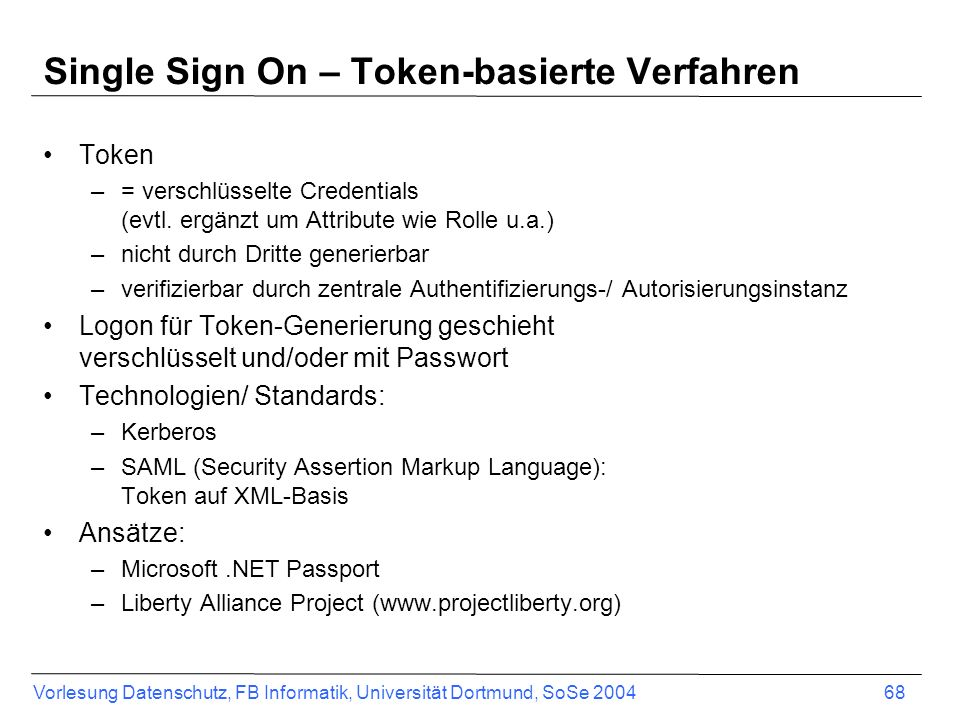 Single Sign On – Token-basierte Verfahren