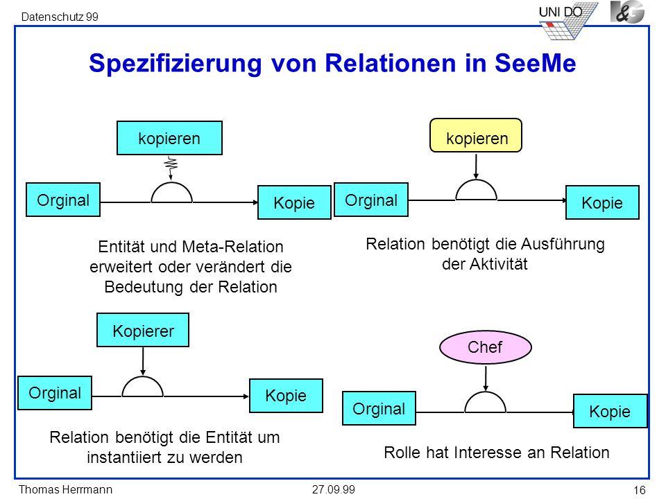 Spezifizierung von Relationen in SeeMe