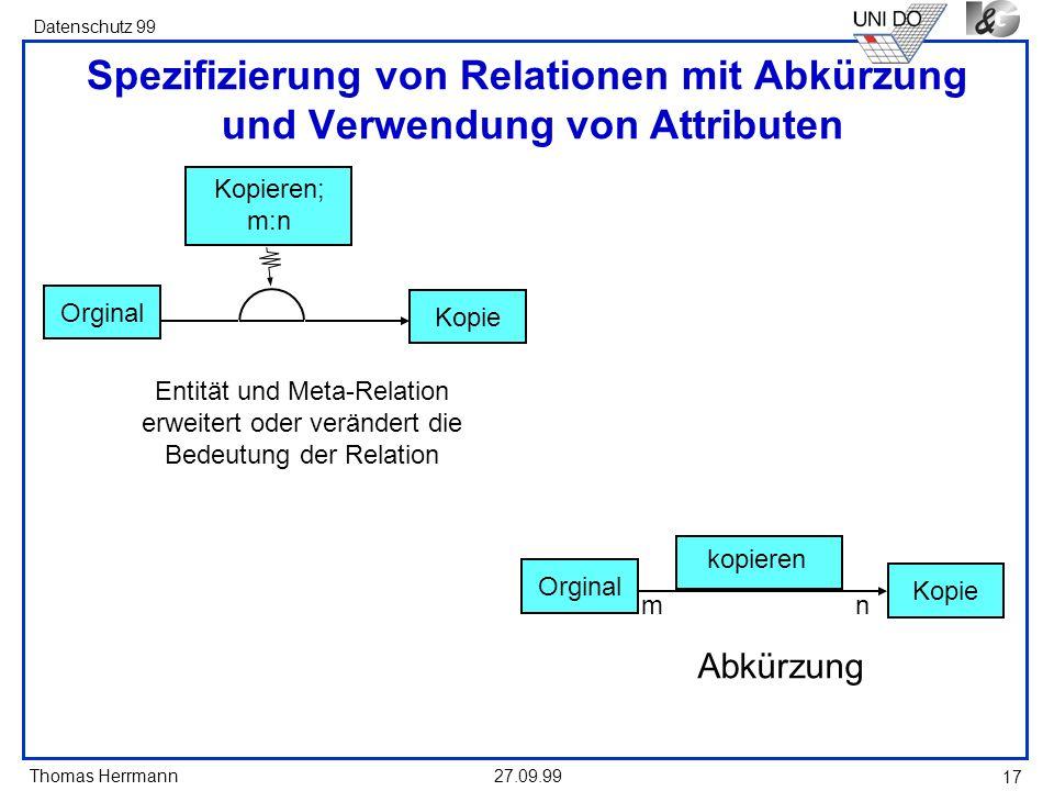 Spezifizierung von Relationen mit Abkürzung und Verwendung von Attributen