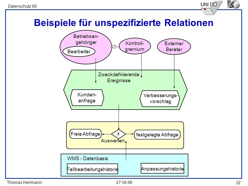 Beispiele für unspezifizierte Relationen