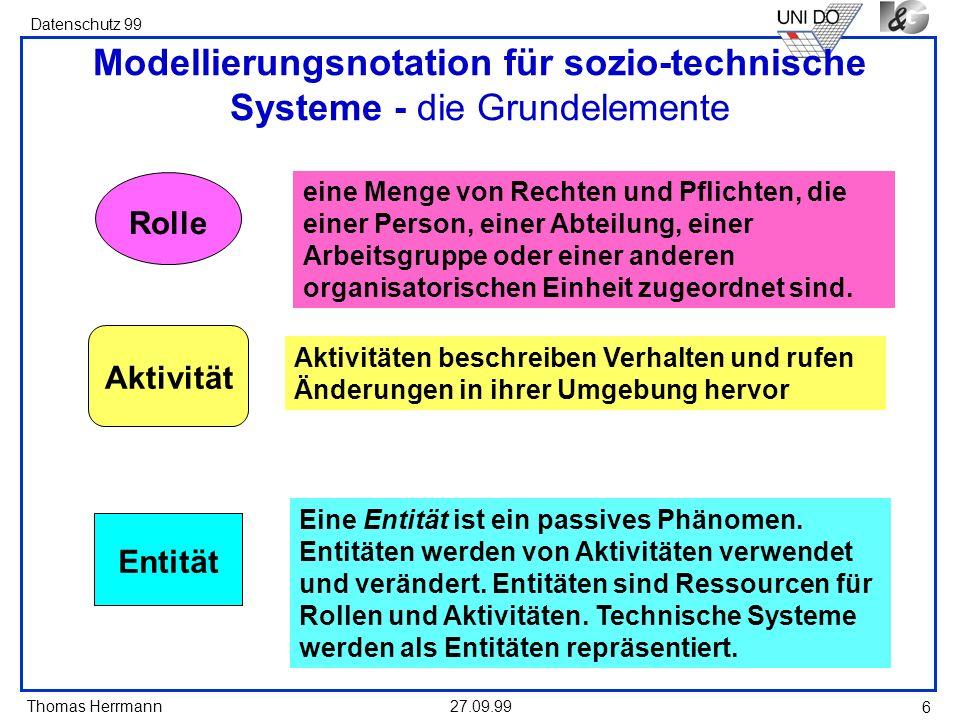 Modellierungsnotation für sozio-technische Systeme - die Grundelemente
