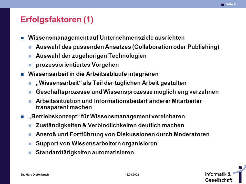 Erfolgsfaktoren (1) Wissensmanagement auf Unternehmensziele ausrichten