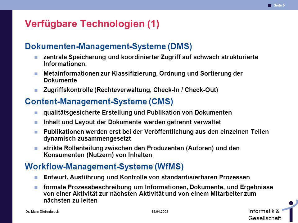 Verfügbare Technologien (1)