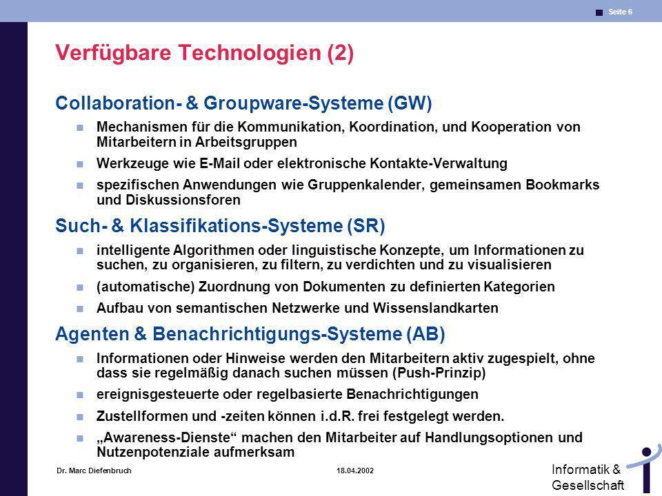 Verfügbare Technologien (2)