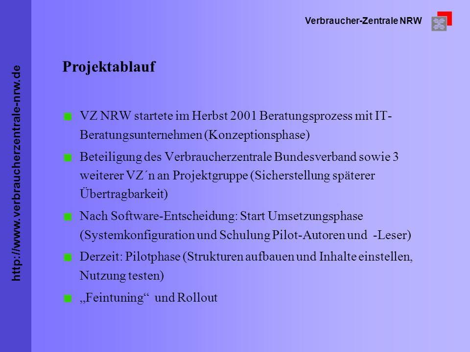 Projektablauf VZ NRW startete im Herbst 2001 Beratungsprozess mit IT-Beratungsunternehmen (Konzeptionsphase)
