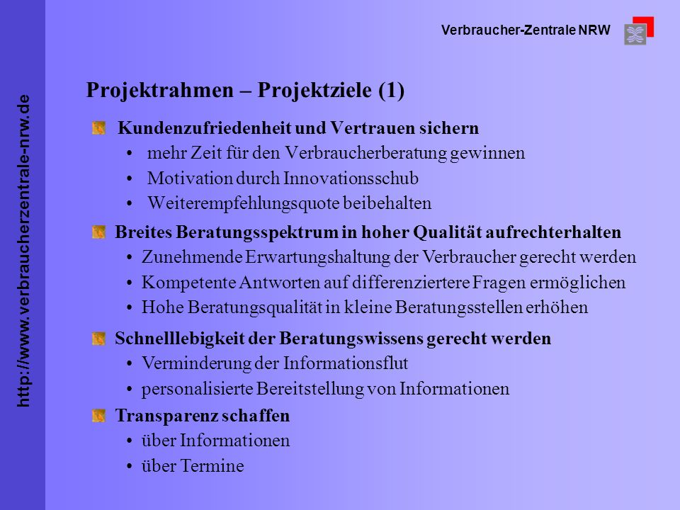 Projektrahmen – Projektziele (1)