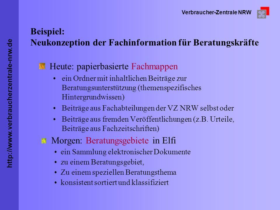 Beispiel: Neukonzeption der Fachinformation für Beratungskräfte