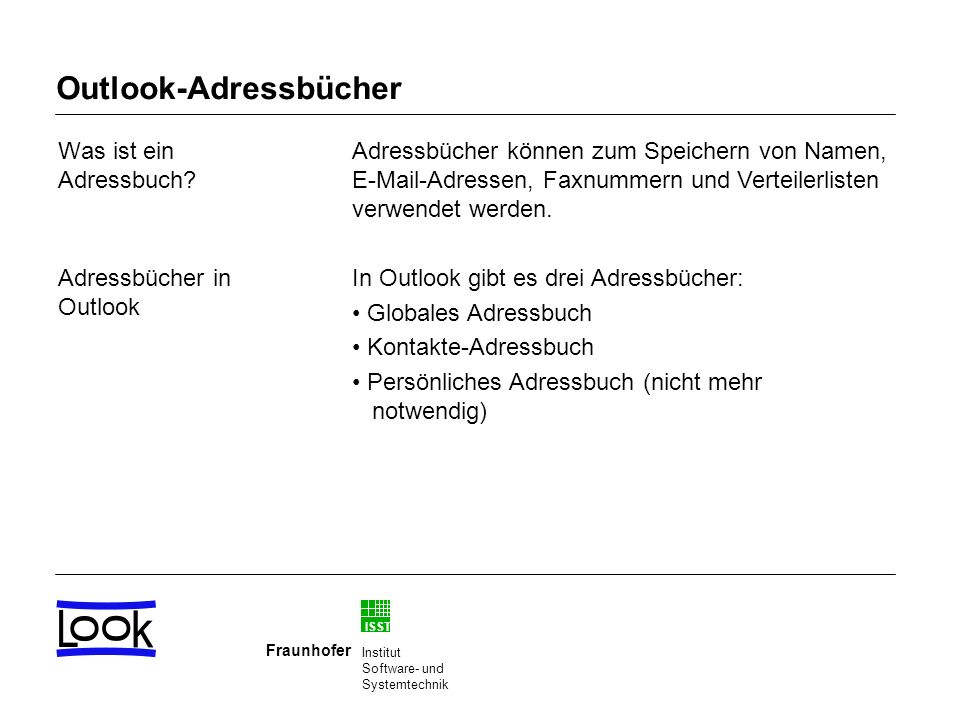 Outlook-Adressbücher