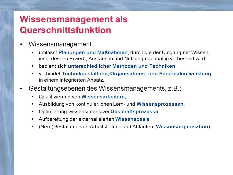 Wissensmanagement als Querschnittsfunktion
