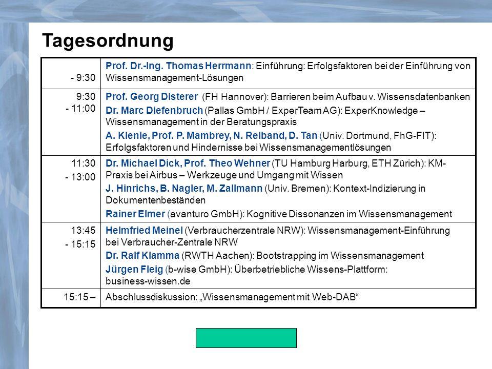 Tagesordnung- 9:30. Prof. Dr.-Ing. Thomas Herrmann: Einführung: Erfolgsfaktoren bei der Einführung von Wissensmanagement-Lösungen.