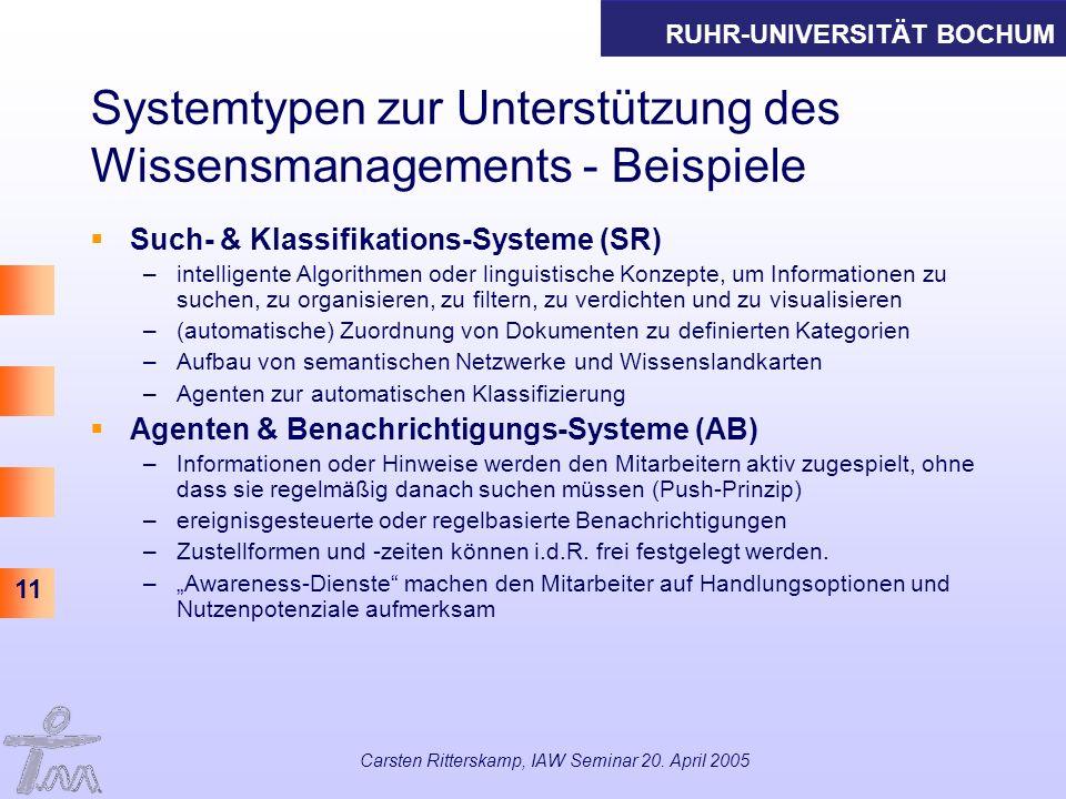 Systemtypen zur Unterstützung des Wissensmanagements - Beispiele