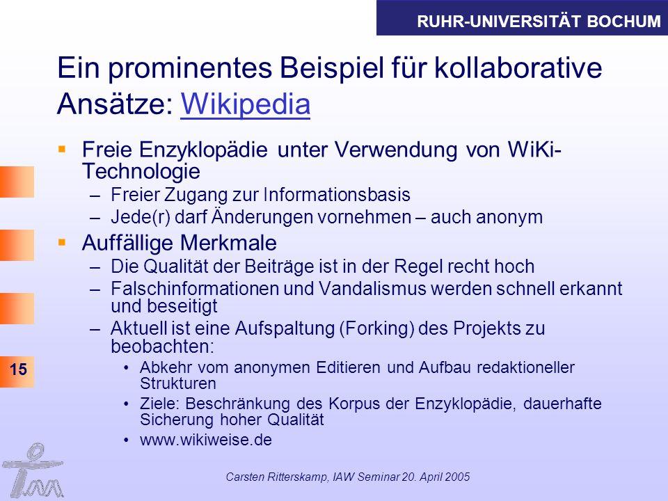 Ein prominentes Beispiel für kollaborative Ansätze: Wikipedia