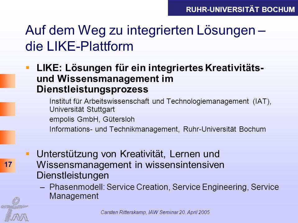 Auf dem Weg zu integrierten Lösungen – die LIKE-Plattform