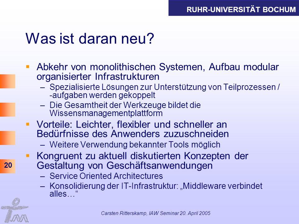 Carsten Ritterskamp, IAW Seminar 20. April 2005