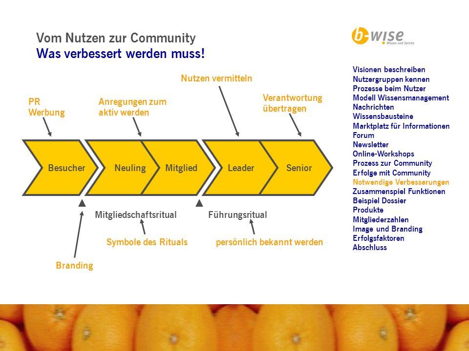 Vom Nutzen zur Community Was verbessert werden muss!