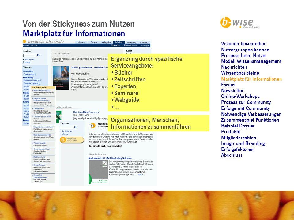 Von der Stickyness zum Nutzen Marktplatz für Informationen