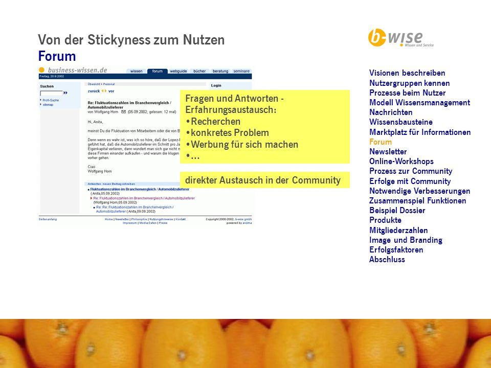 Von der Stickyness zum Nutzen Forum