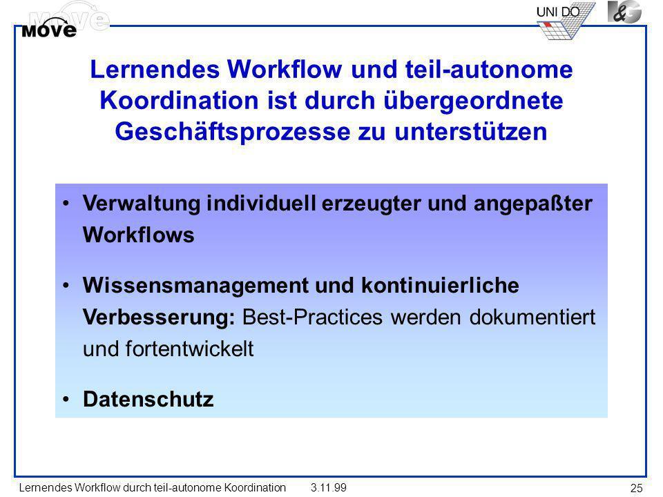 Lernendes Workflow und teil-autonome Koordination ist durch übergeordnete Geschäftsprozesse zu unterstützen