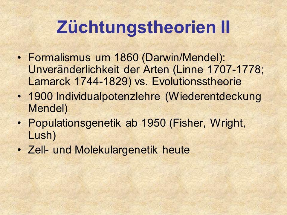 Züchtungstheorien II Formalismus um 1860 (Darwin/Mendel): Unveränderlichkeit der Arten (Linne 1707-1778; Lamarck 1744-1829) vs. Evolutionsstheorie.