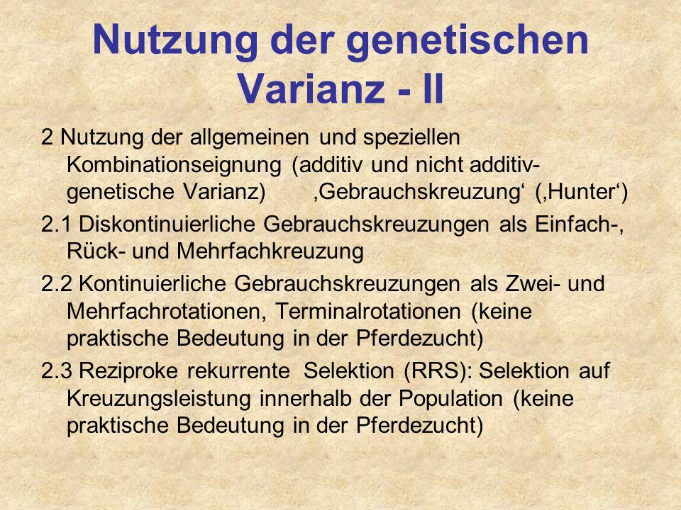 Nutzung der genetischen Varianz - II