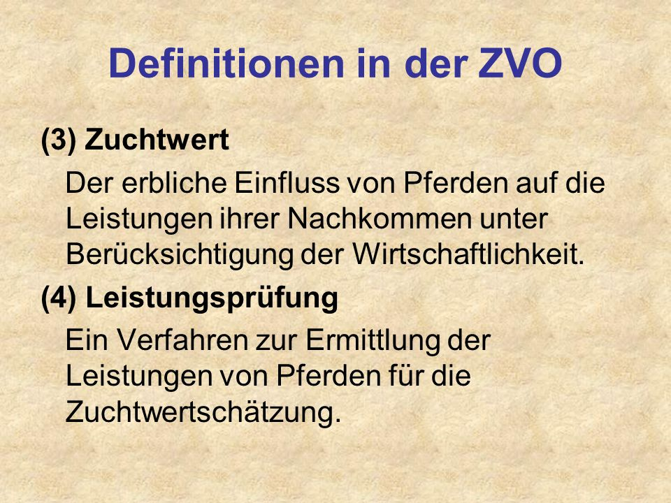 Definitionen in der ZVO
