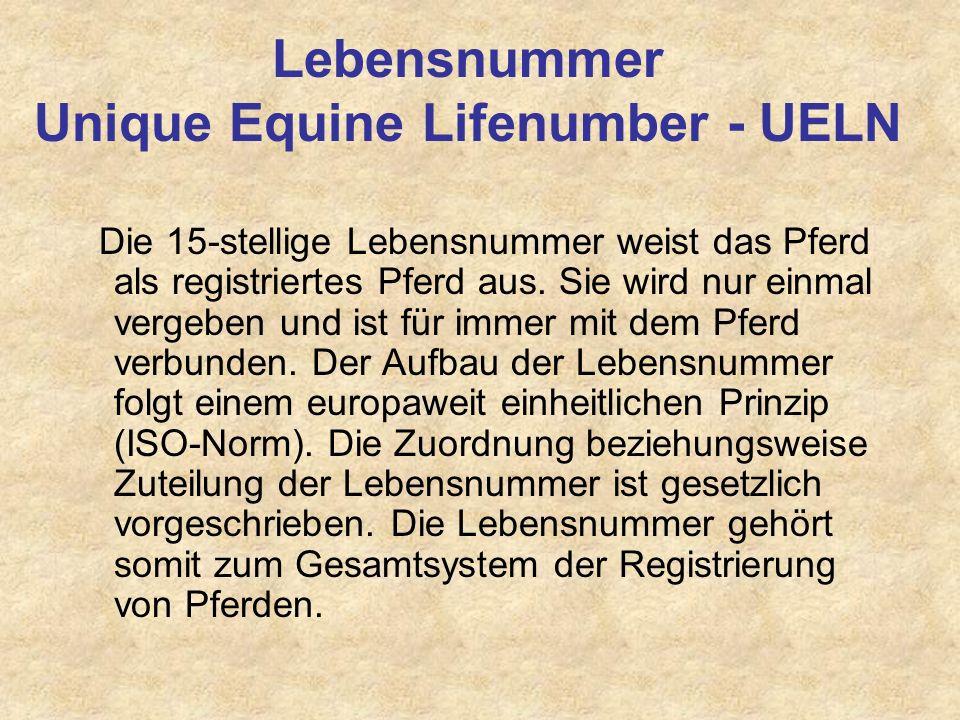 Lebensnummer Unique Equine Lifenumber - UELN