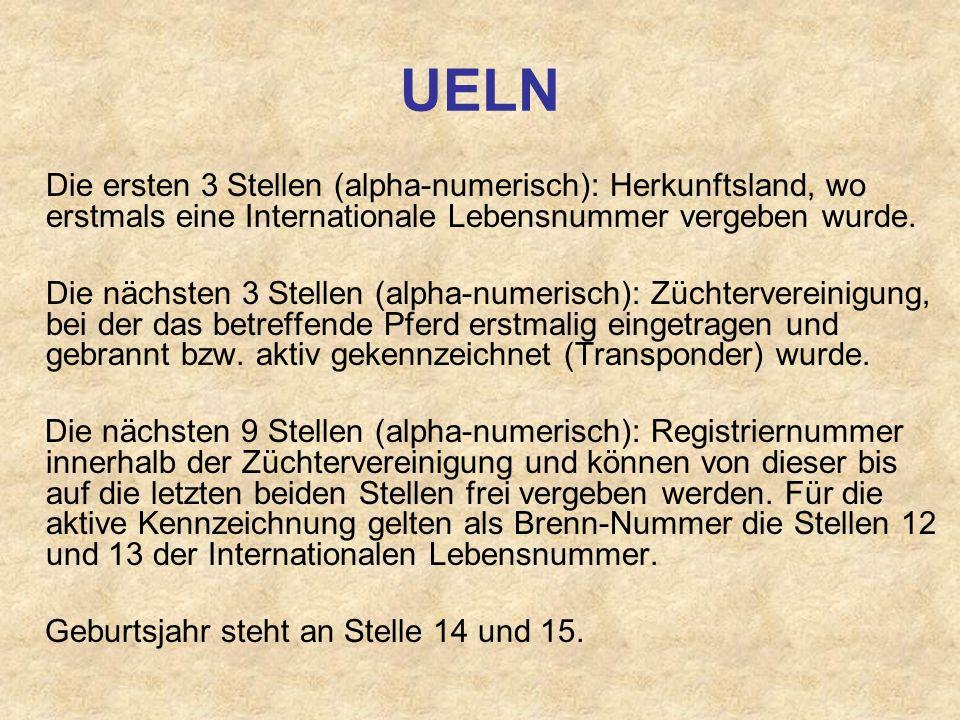UELN Die ersten 3 Stellen (alpha-numerisch): Herkunftsland, wo erstmals eine Internationale Lebensnummer vergeben wurde.