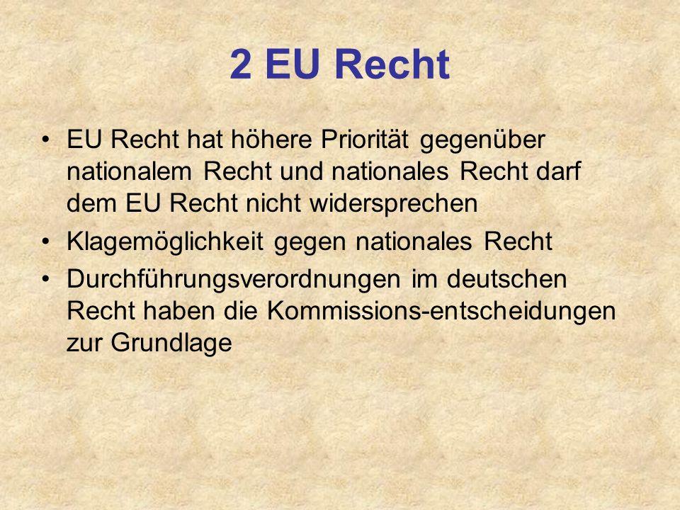2 EU Recht EU Recht hat höhere Priorität gegenüber nationalem Recht und nationales Recht darf dem EU Recht nicht widersprechen.