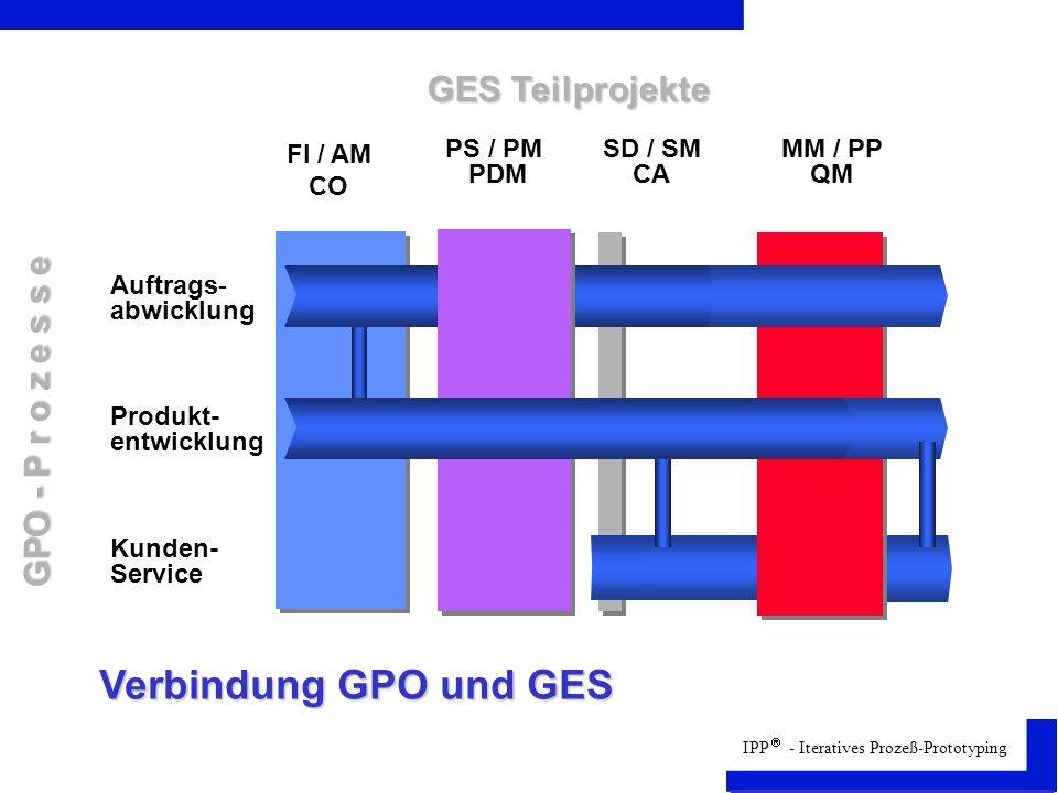 Verbindung GPO und GES GES Teilprojekte GPO - P r o z e s s e FI / AM