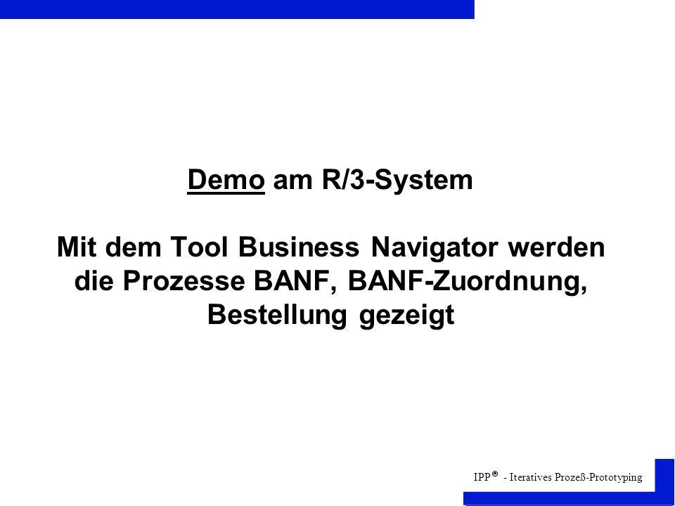 Demo am R/3-System Mit dem Tool Business Navigator werden die Prozesse BANF, BANF-Zuordnung, Bestellung gezeigt