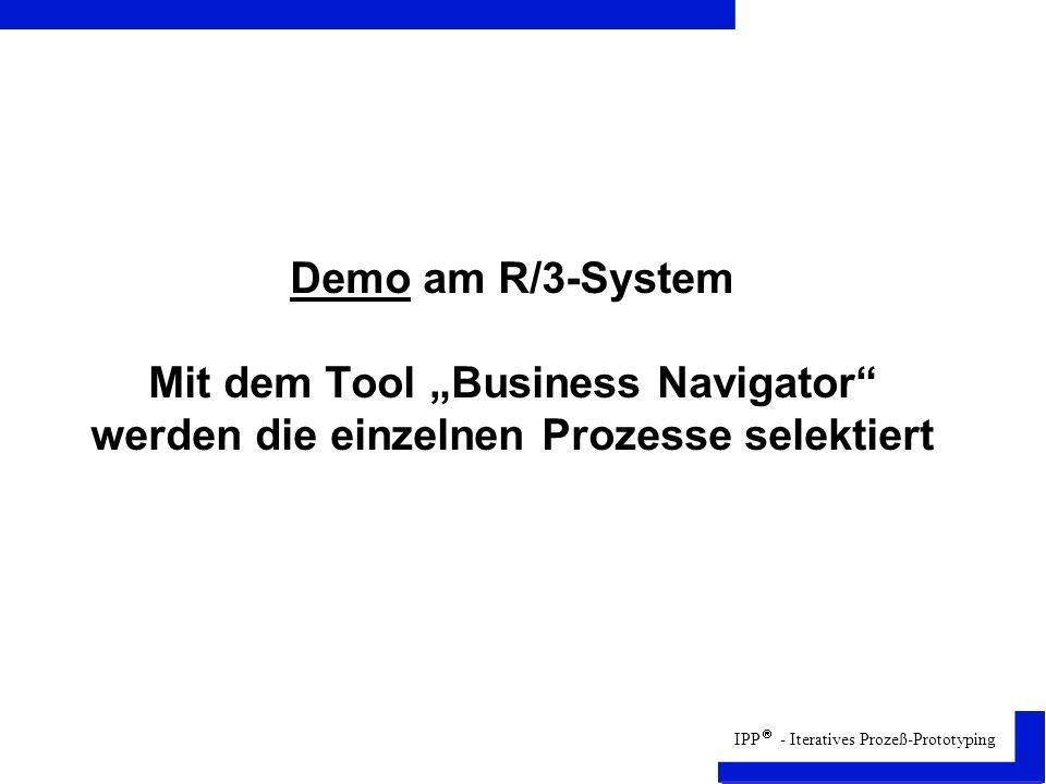 """Demo am R/3-System Mit dem Tool """"Business Navigator werden die einzelnen Prozesse selektiert"""