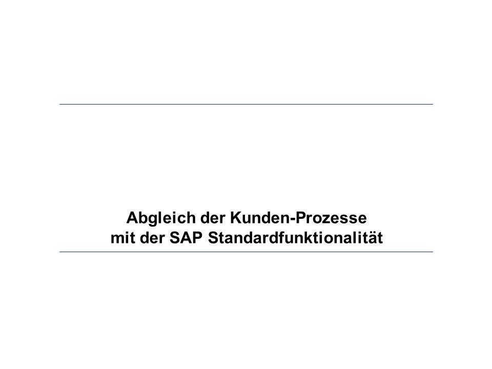 Abgleich der Kunden-Prozesse mit der SAP Standardfunktionalität