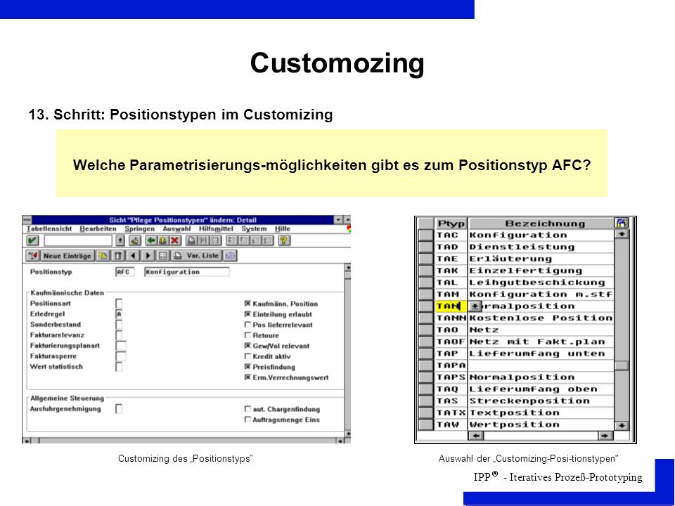 Customozing 13. Schritt: Positionstypen im Customizing