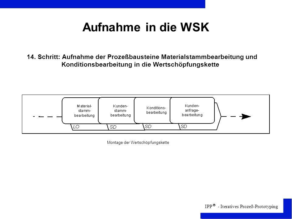 Aufnahme in die WSK 14. Schritt: Aufnahme der Prozeßbausteine Materialstammbearbeitung und. Konditionsbearbeitung in die Wertschöpfungskette.