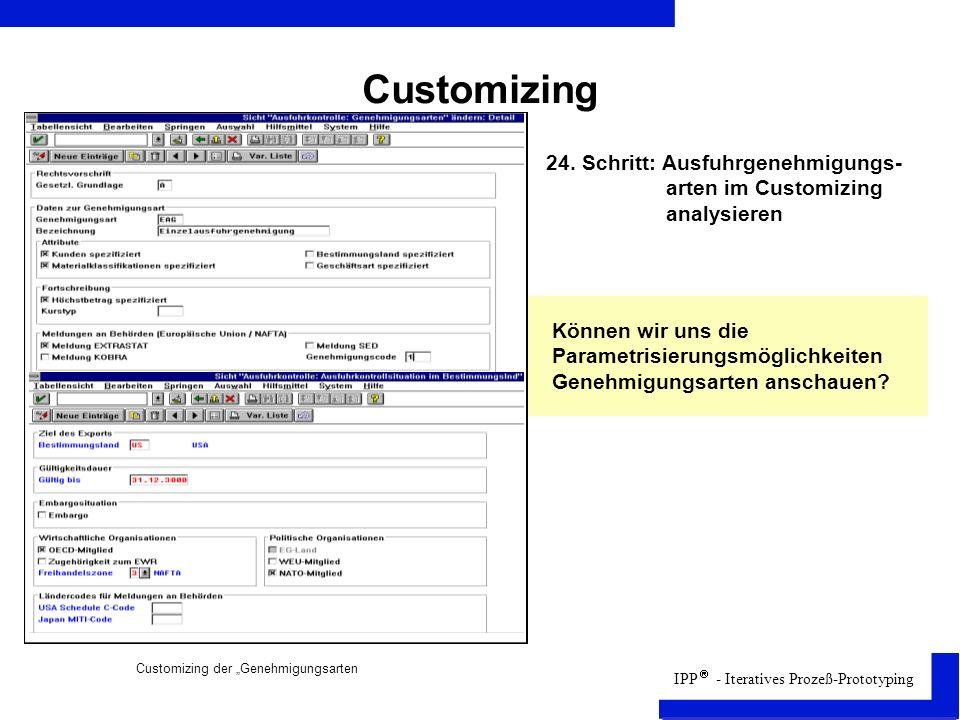 Customizing 24. Schritt: Ausfuhrgenehmigungs- arten im Customizing analysieren.