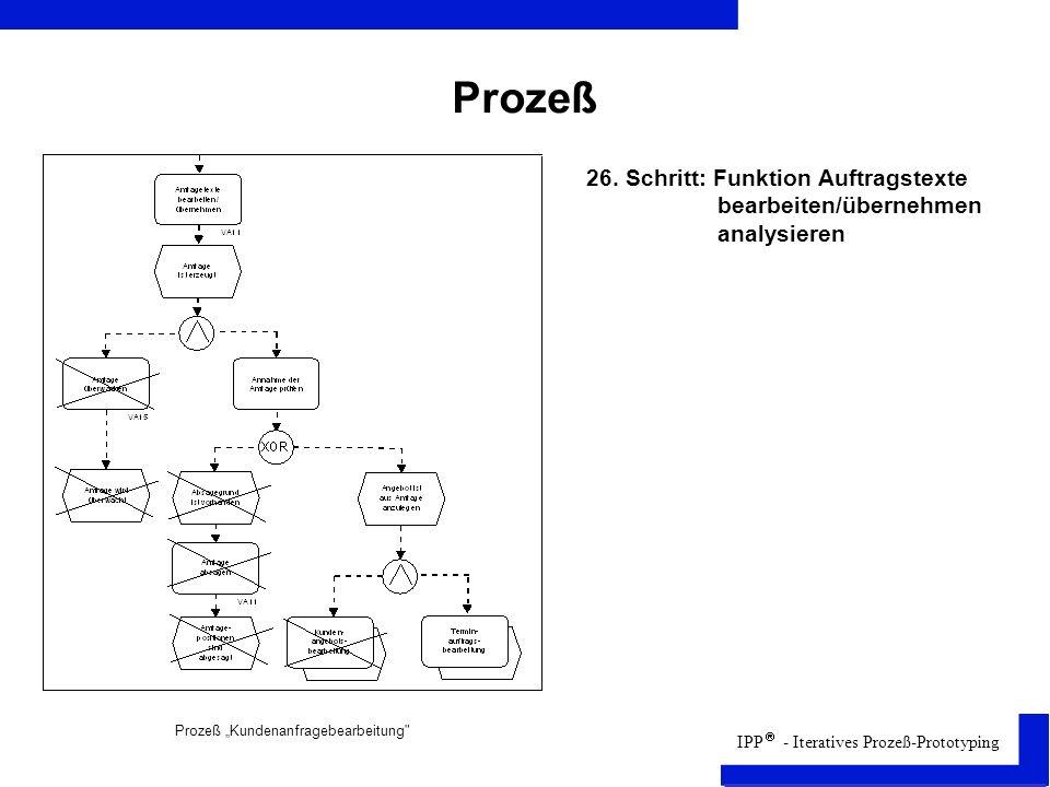 Prozeß 26. Schritt: Funktion Auftragstexte bearbeiten/übernehmen