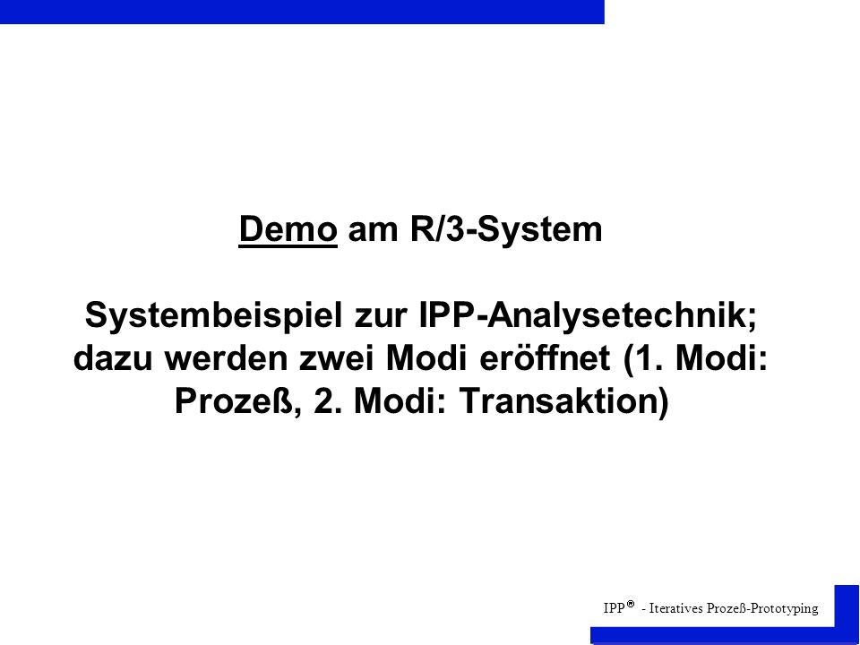 Demo am R/3-System Systembeispiel zur IPP-Analysetechnik; dazu werden zwei Modi eröffnet (1.