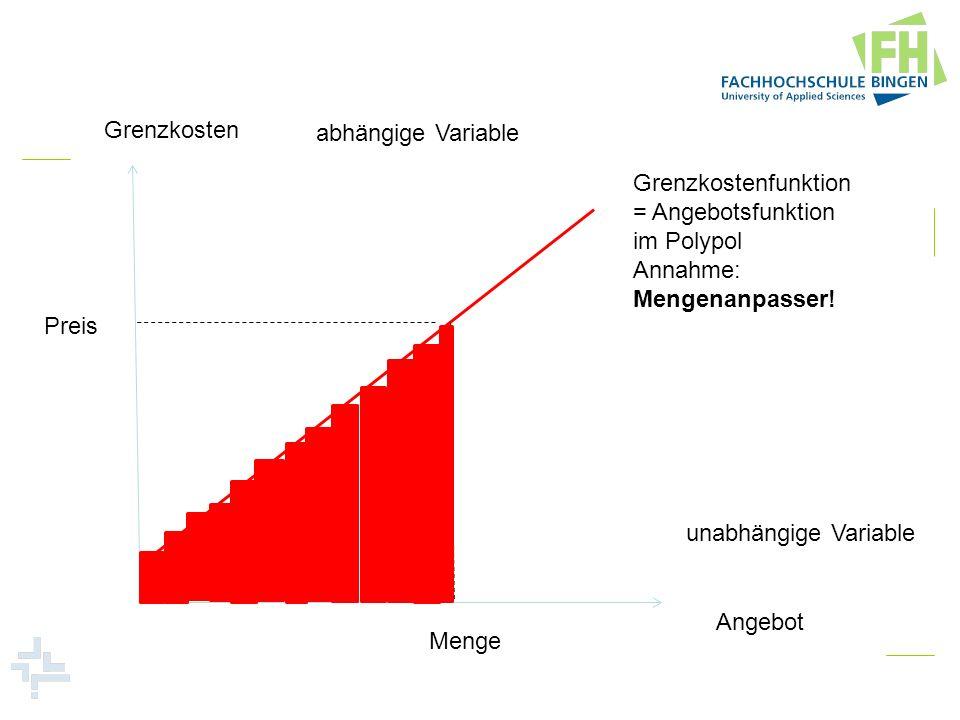 Grenzkosten abhängige Variable. Grenzkostenfunktion. = Angebotsfunktion. im Polypol. Annahme: Mengenanpasser!