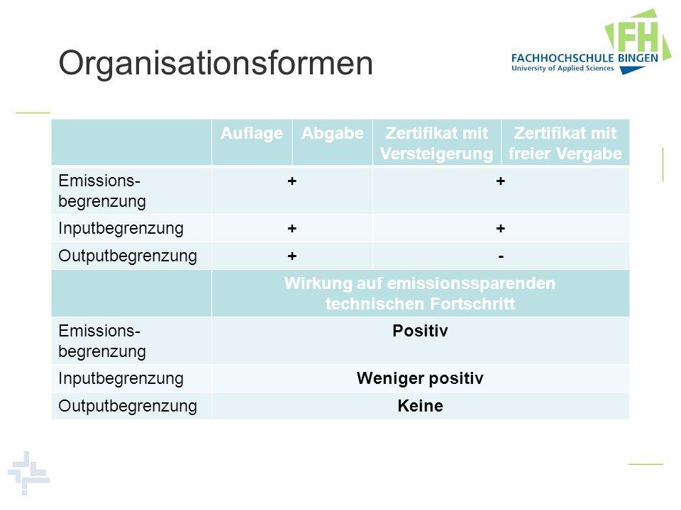 Organisationsformen Auflage Abgabe Zertifikat mit Versteigerung